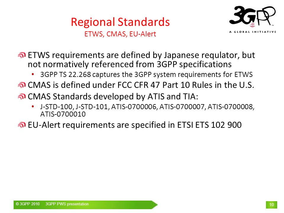 Regional Standards ETWS, CMAS, EU-Alert