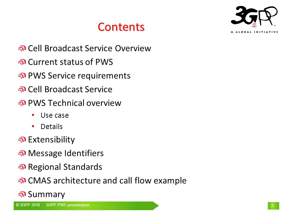 Contents Cell Broadcast Service Overview Current status of PWS