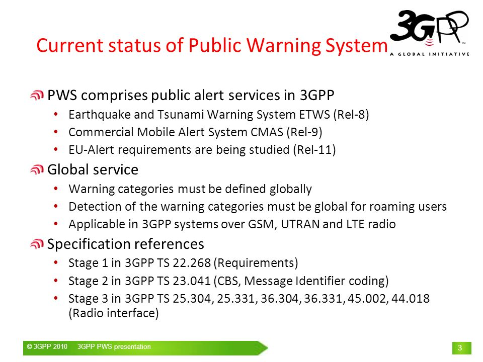 Current status of Public Warning System