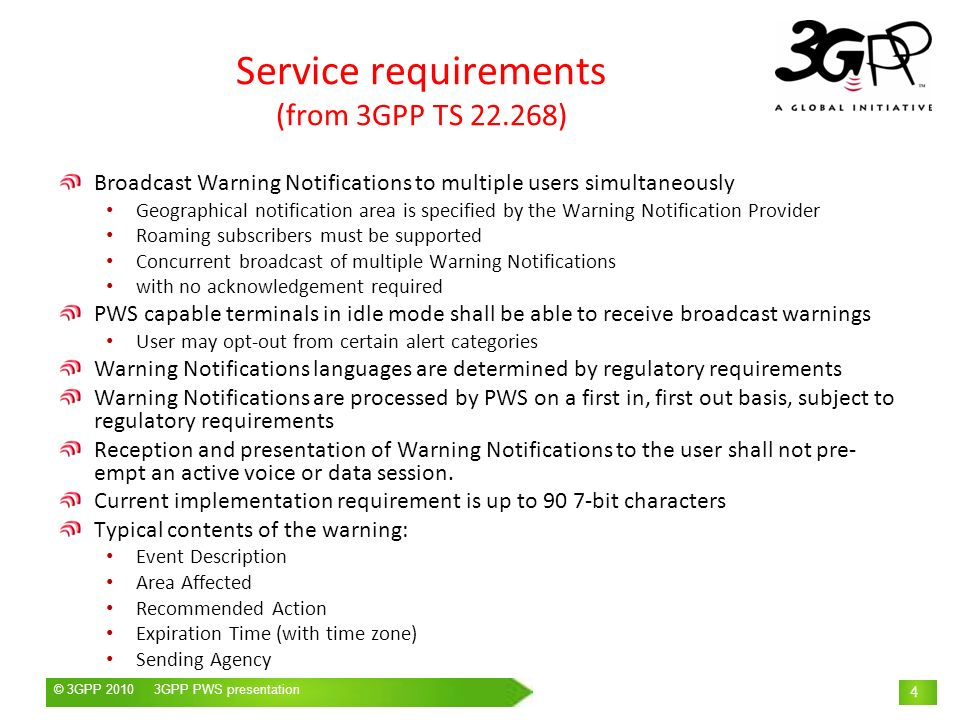 Service requirements (from 3GPP TS )