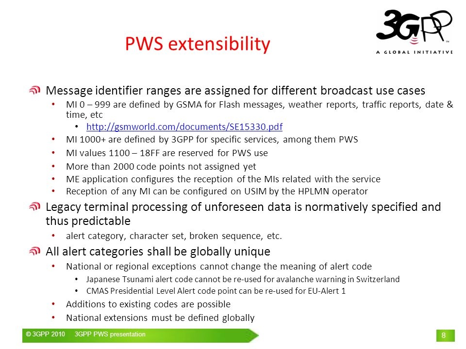 PWS extensibility Message identifier ranges are assigned for different broadcast use cases.