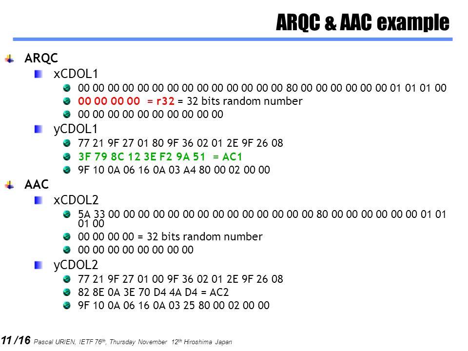 ARQC & AAC example ARQC xCDOL1 yCDOL1 AAC xCDOL2 yCDOL2