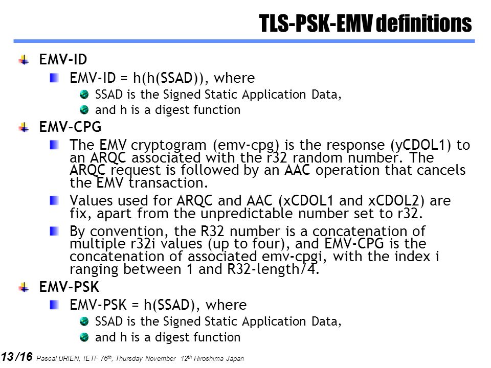 TLS-PSK-EMV definitions