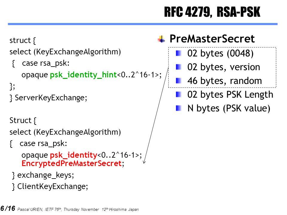 RFC 4279, RSA-PSK PreMasterSecret 02 bytes (0048) 02 bytes, version