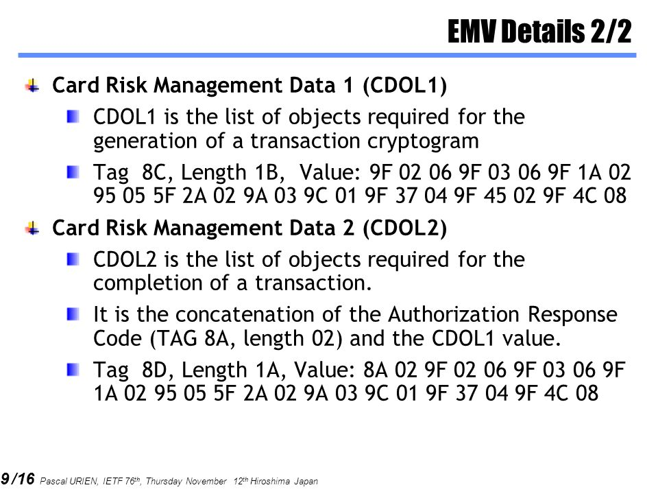 EMV Details 2/2 Card Risk Management Data 1 (CDOL1)