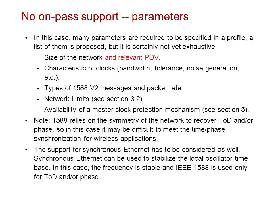 No on-pass support -- parameters
