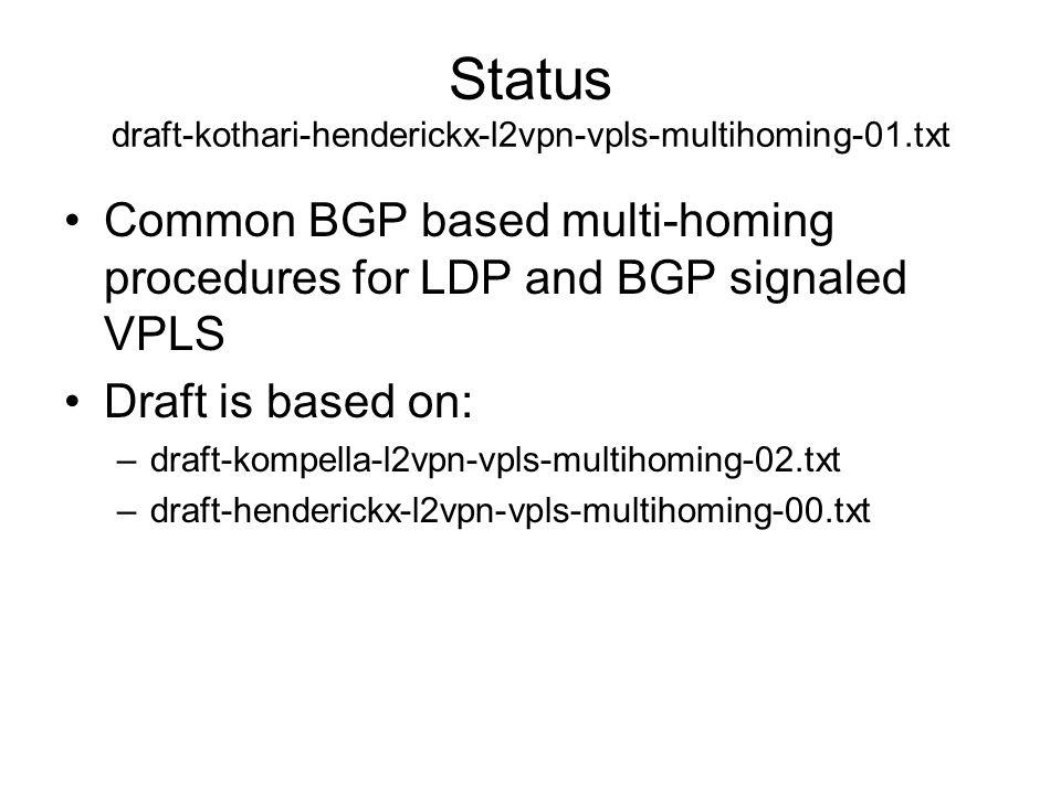 Status draft-kothari-henderickx-l2vpn-vpls-multihoming-01.txt