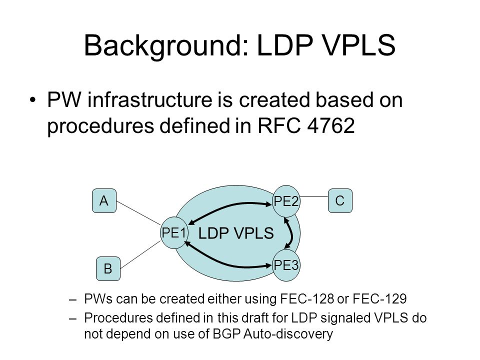 Background: LDP VPLS PW infrastructure is created based on procedures defined in RFC 4762. LDP VPLS.