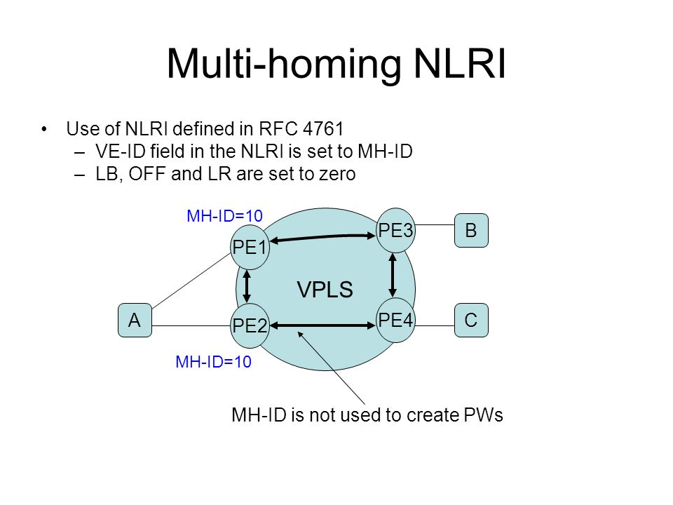 Multi-homing NLRI VPLS Use of NLRI defined in RFC 4761