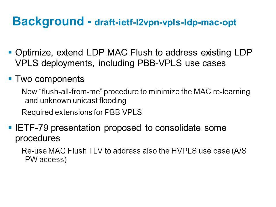 Background - draft-ietf-l2vpn-vpls-ldp-mac-opt