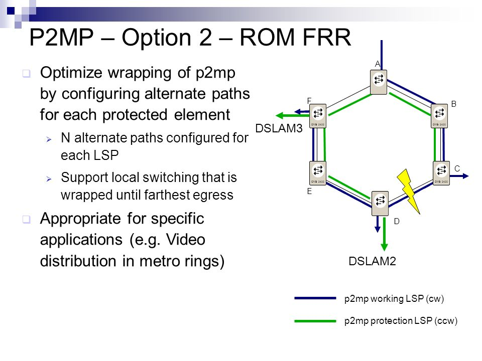 P2MP – Option 2 – ROM FRR A. Optimize wrapping of p2mp by configuring alternate paths for each protected element.