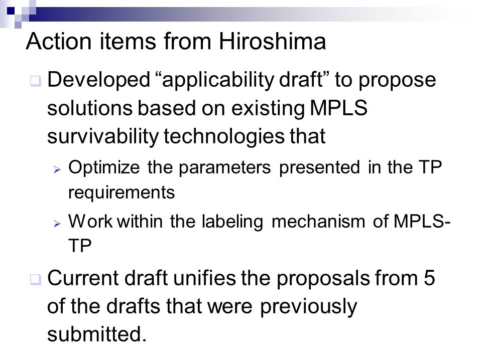Action items from Hiroshima