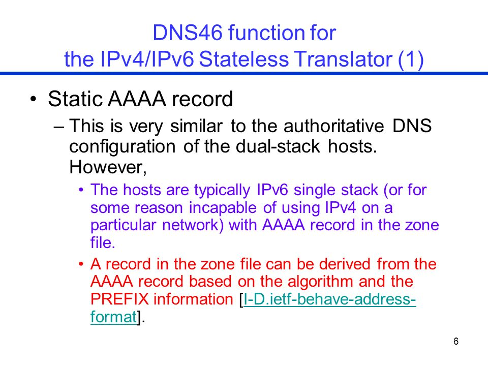 DNS46 function for the IPv4/IPv6 Stateless Translator (1)