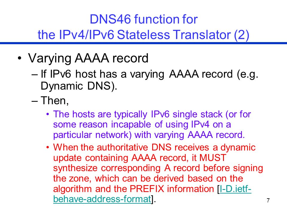 DNS46 function for the IPv4/IPv6 Stateless Translator (2)