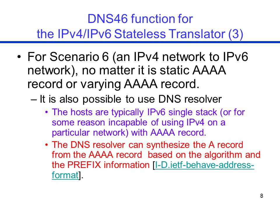 DNS46 function for the IPv4/IPv6 Stateless Translator (3)