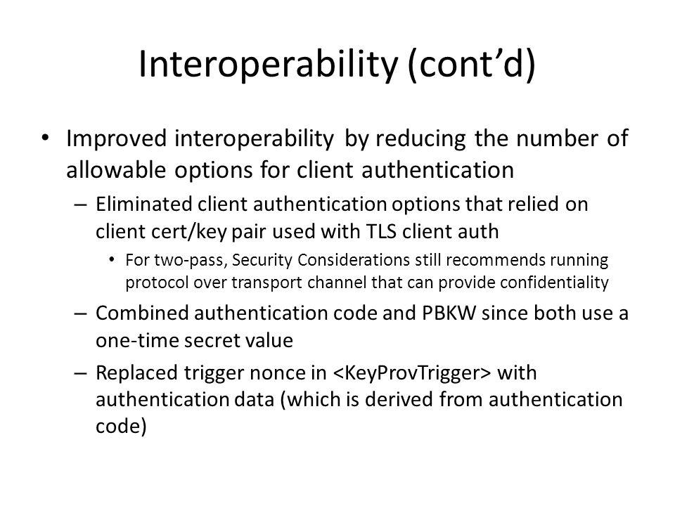 Interoperability (cont'd)