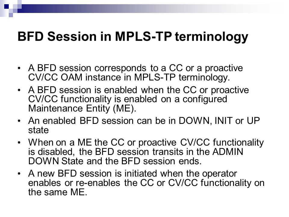 BFD Session in MPLS-TP terminology