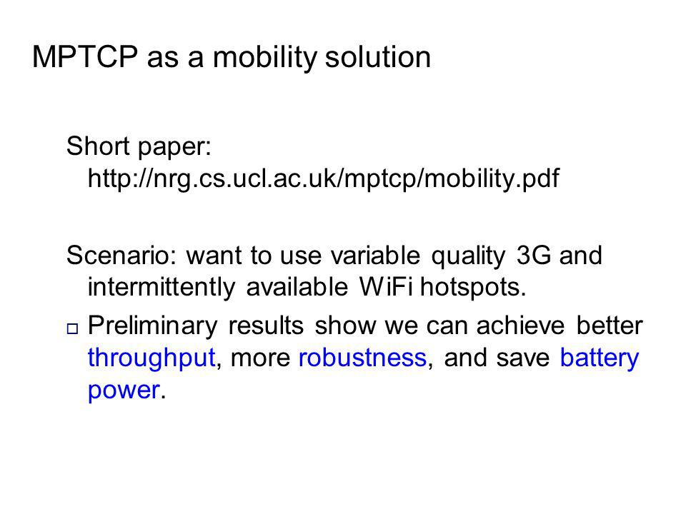 MPTCP as a mobility solution