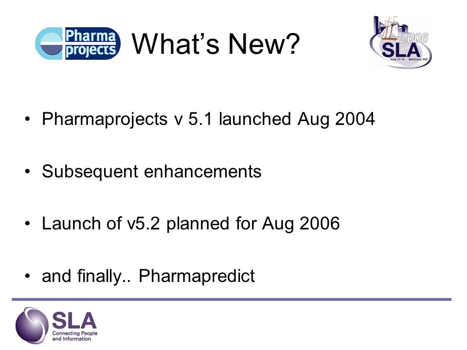 What's New Pharmaprojects v 5.1 launched Aug 2004