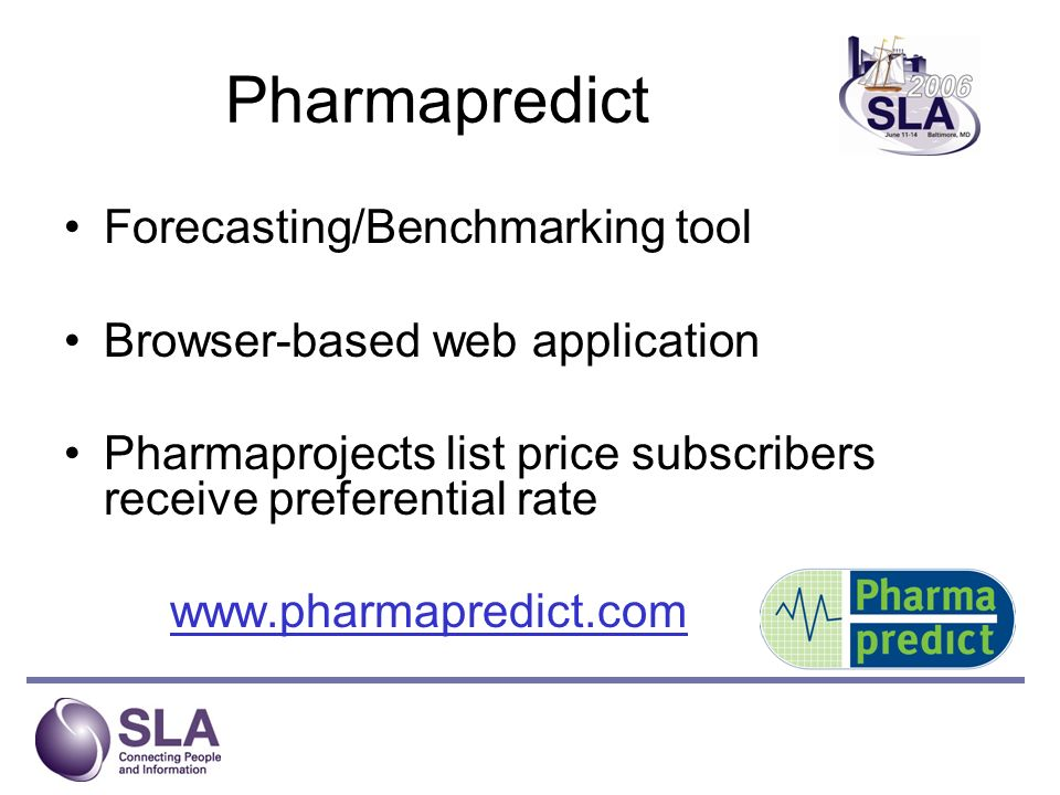 Pharmapredict Forecasting/Benchmarking tool