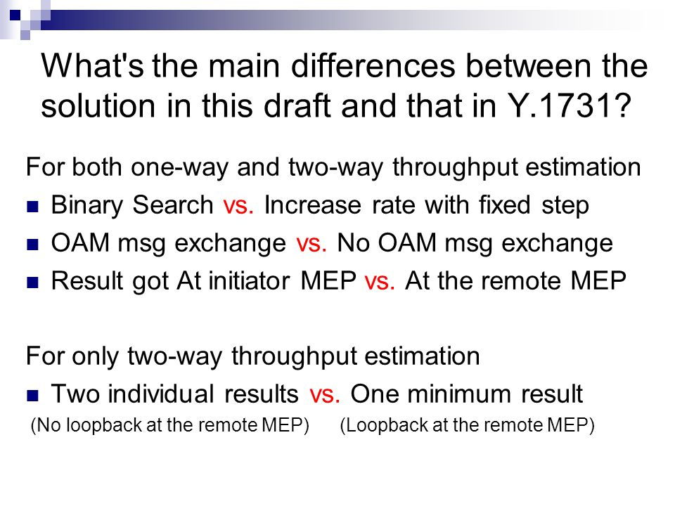 What s the main differences between the solution in this draft and that in Y.1731