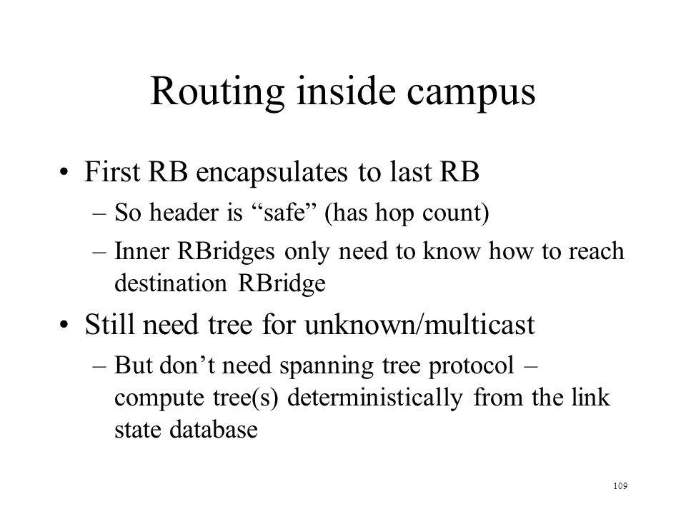 Routing inside campus First RB encapsulates to last RB