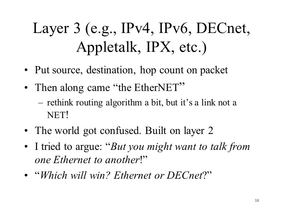 Layer 3 (e.g., IPv4, IPv6, DECnet, Appletalk, IPX, etc.)