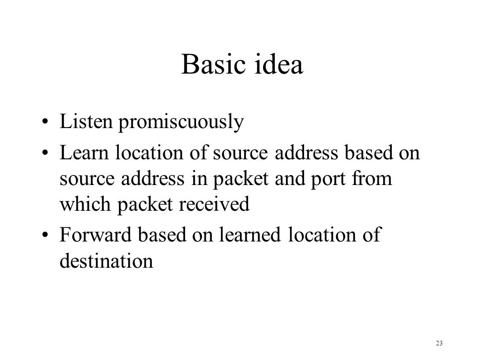Basic idea Listen promiscuously