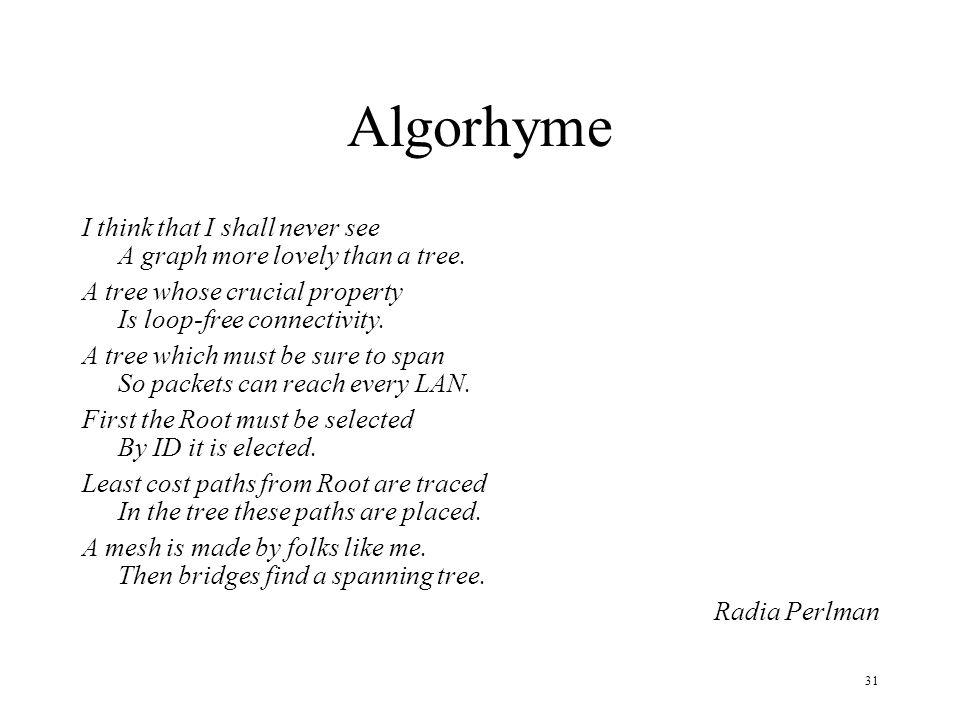 Algorhyme I think that I shall never see A graph more lovely than a tree. A tree whose crucial property Is loop-free connectivity.