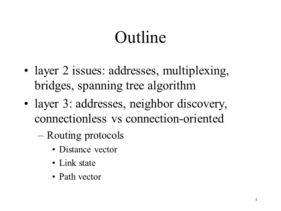 Outline layer 2 issues: addresses, multiplexing, bridges, spanning tree algorithm.