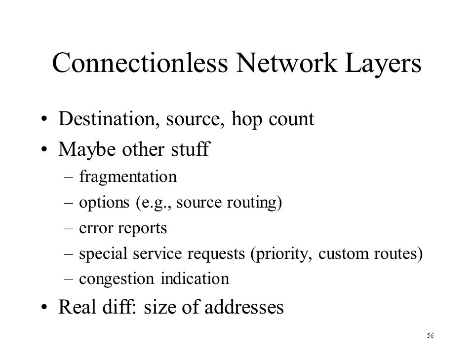 Connectionless Network Layers