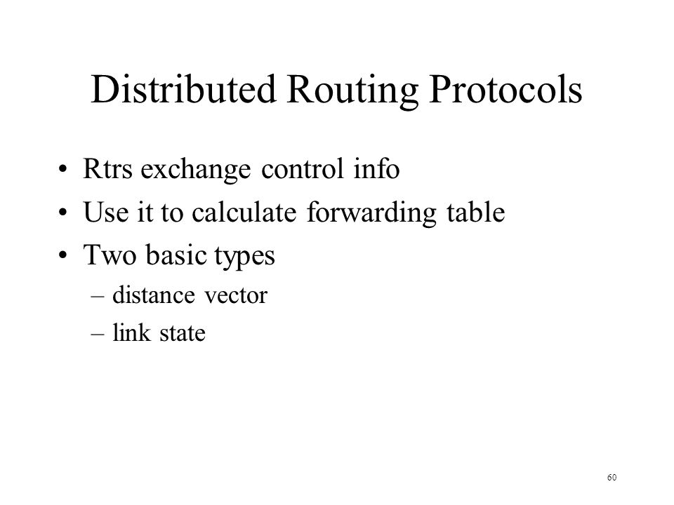 Distributed Routing Protocols