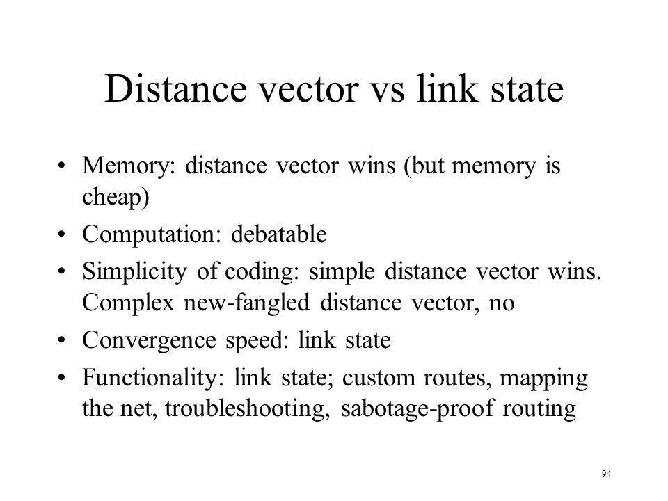 Distance vector vs link state