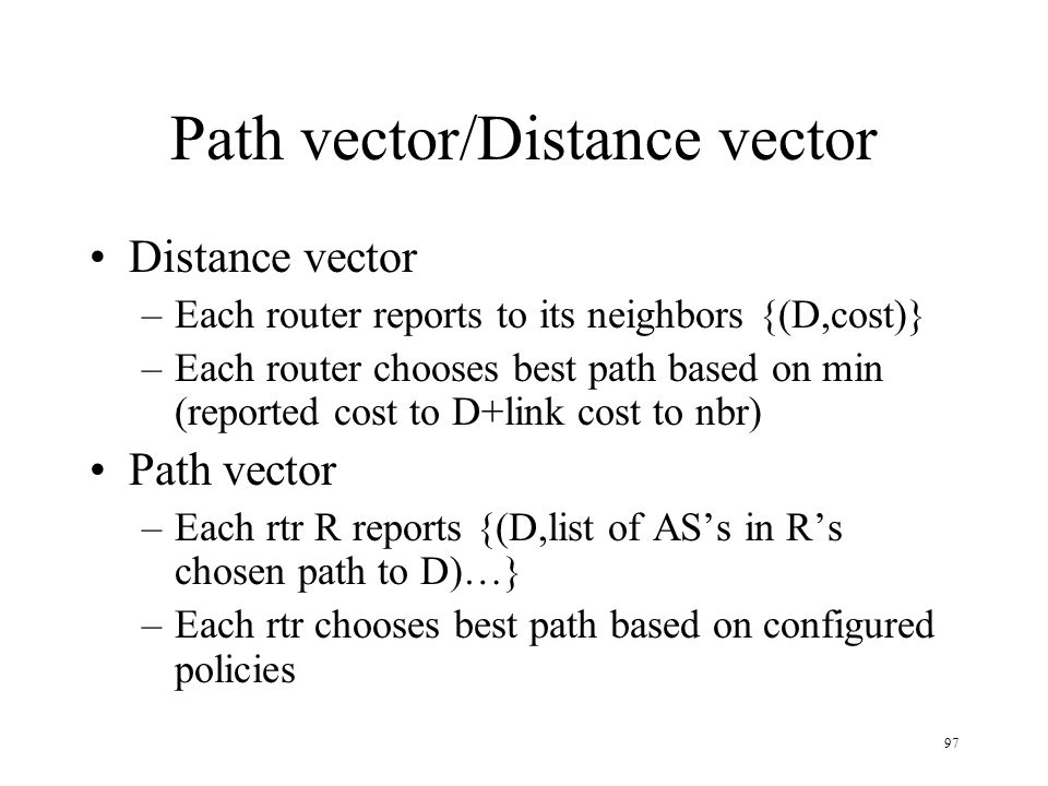 Path vector/Distance vector