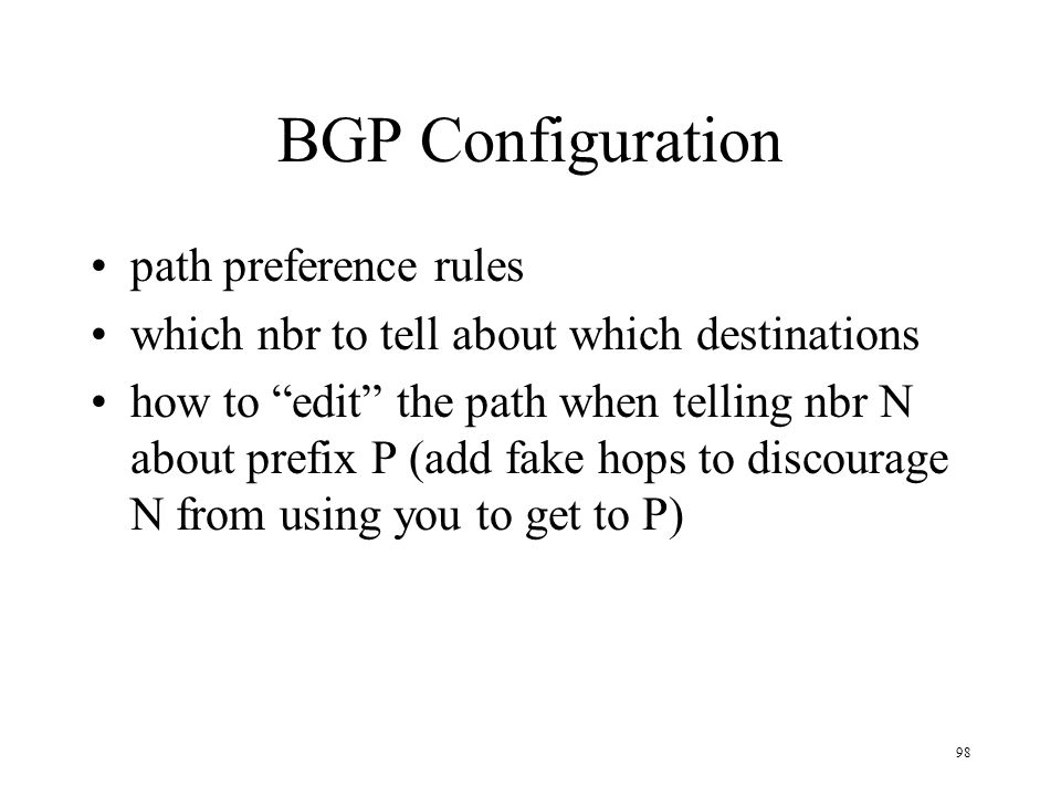 BGP Configuration path preference rules