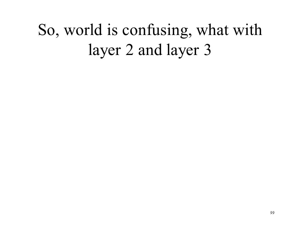 So, world is confusing, what with layer 2 and layer 3