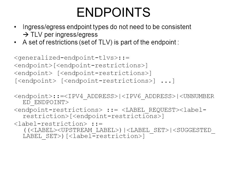 ENDPOINTS Ingress/egress endpoint types do not need to be consistent