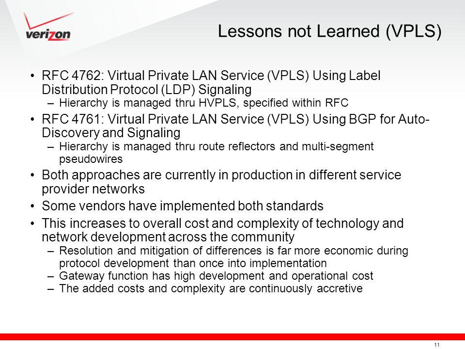 Lessons not Learned (VPLS)