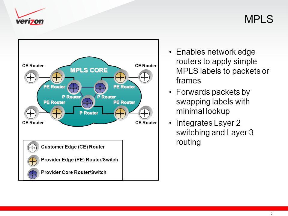 MPLS Customer Edge (CE) Router. Provider Edge (PE) Router/Switch. Provider Core Router/Switch. MPLS CORE.