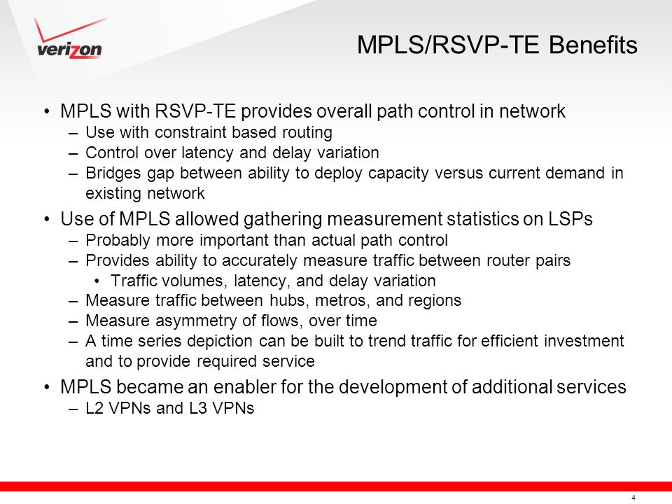 MPLS/RSVP-TE Benefits