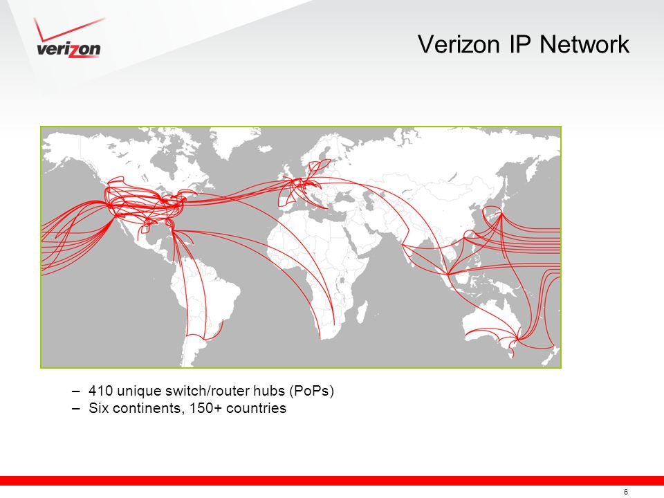 Verizon IP Network 410 unique switch/router hubs (PoPs)