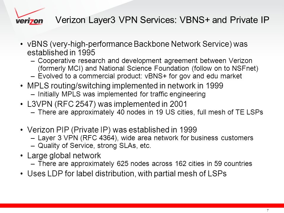 Verizon Layer3 VPN Services: VBNS+ and Private IP