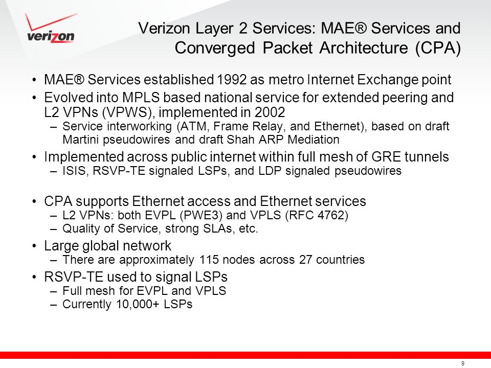 Verizon Layer 2 Services: MAE® Services and Converged Packet Architecture (CPA)