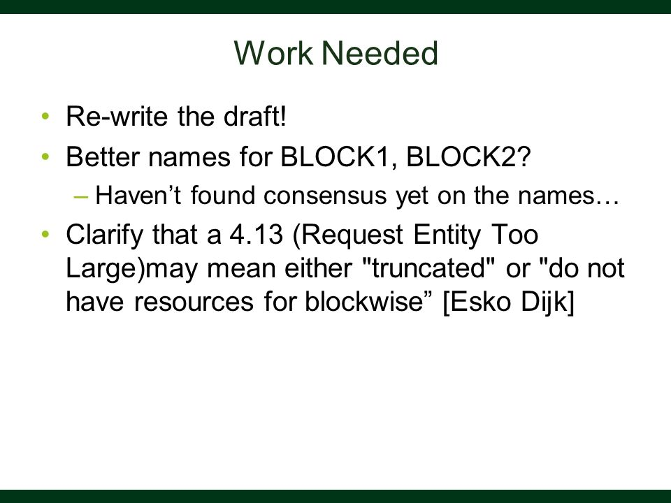 Work Needed Re-write the draft! Better names for BLOCK1, BLOCK2