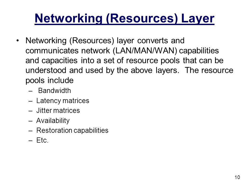 Networking (Resources) Layer