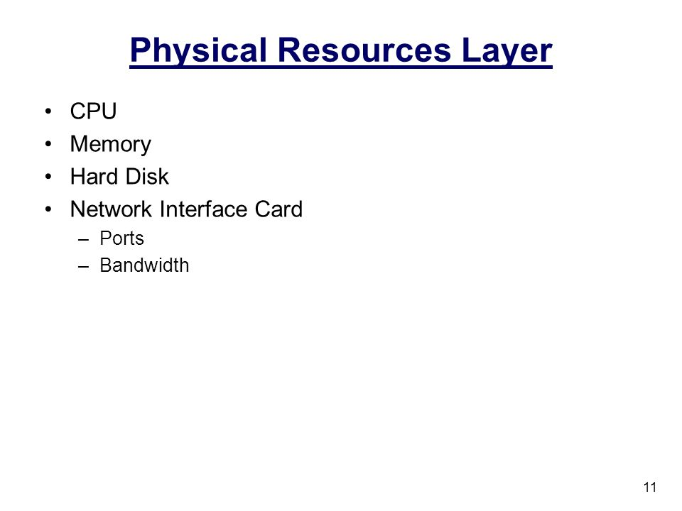 Physical Resources Layer