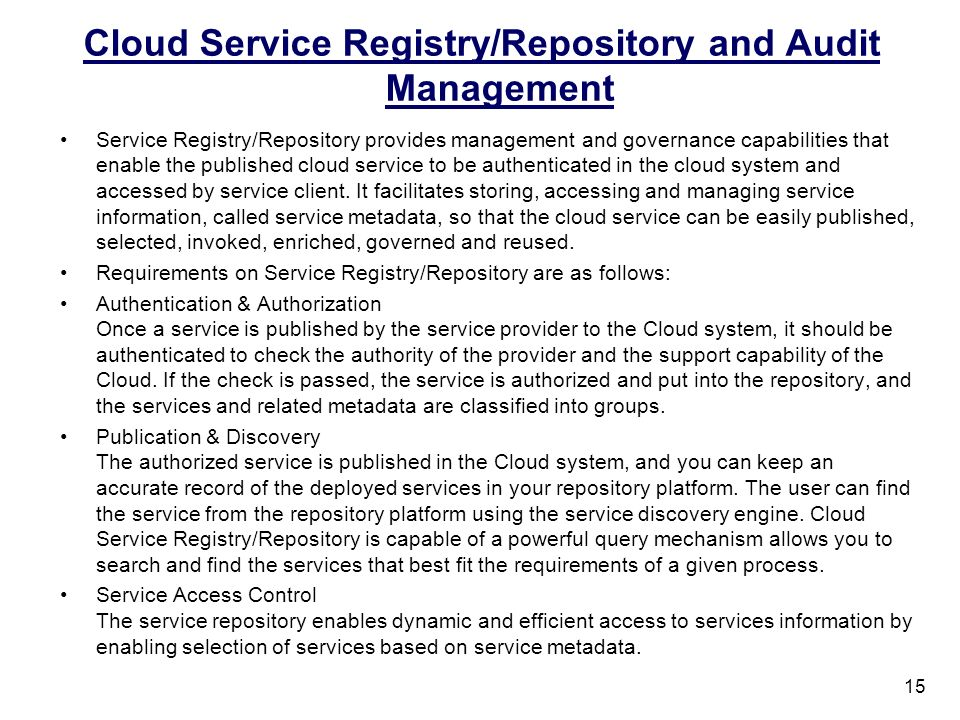 Cloud Service Registry/Repository and Audit Management