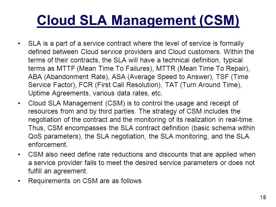 Cloud SLA Management (CSM)