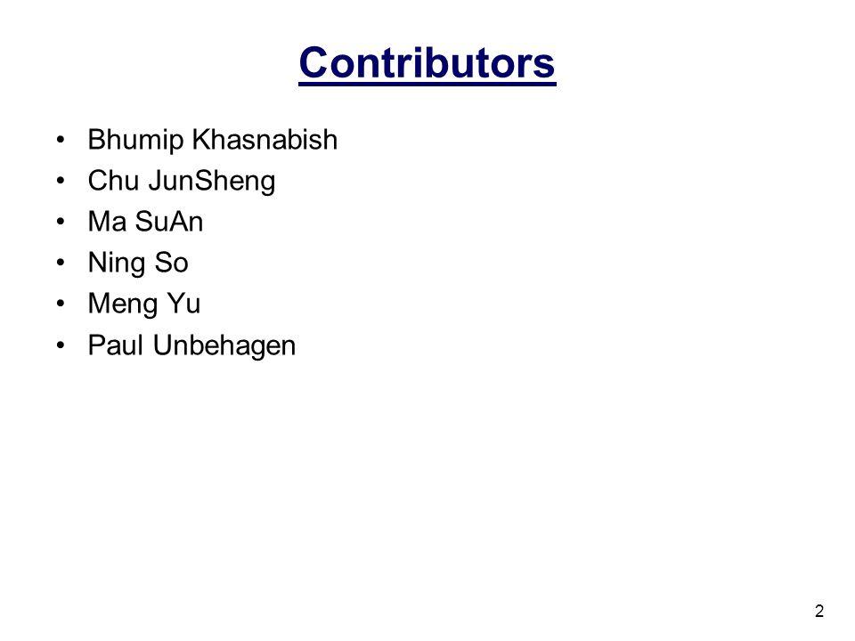 Contributors Bhumip Khasnabish Chu JunSheng Ma SuAn Ning So Meng Yu