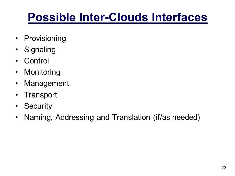 Possible Inter-Clouds Interfaces
